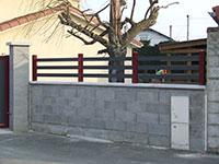 Barrière de clôture - 3 lames de 80 mm en lice avec poteaux