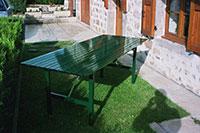 Table en lames de 70 mm pieds repliables
